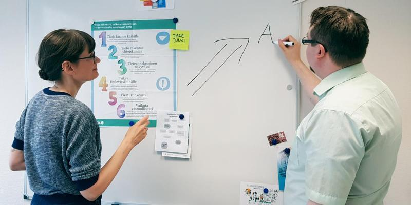 Two people at a whiteboard, photographed from behind.